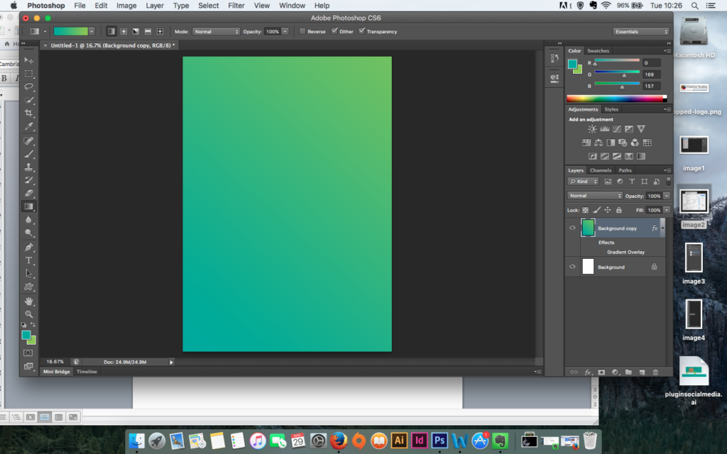 screenshot of comleted gradient